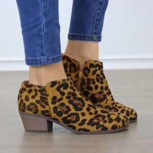 Faux Suede Leopard Print Ankle Booties